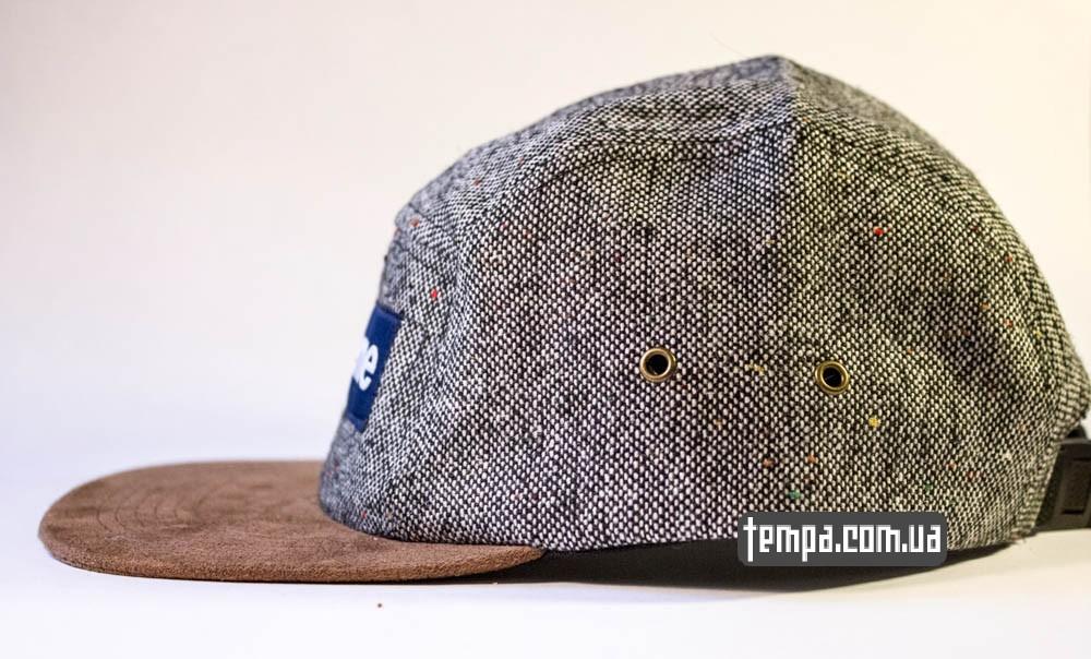Пятипанельная кепка Supreme синяя с серым и коричневым козырьком купить пятипанельку_1