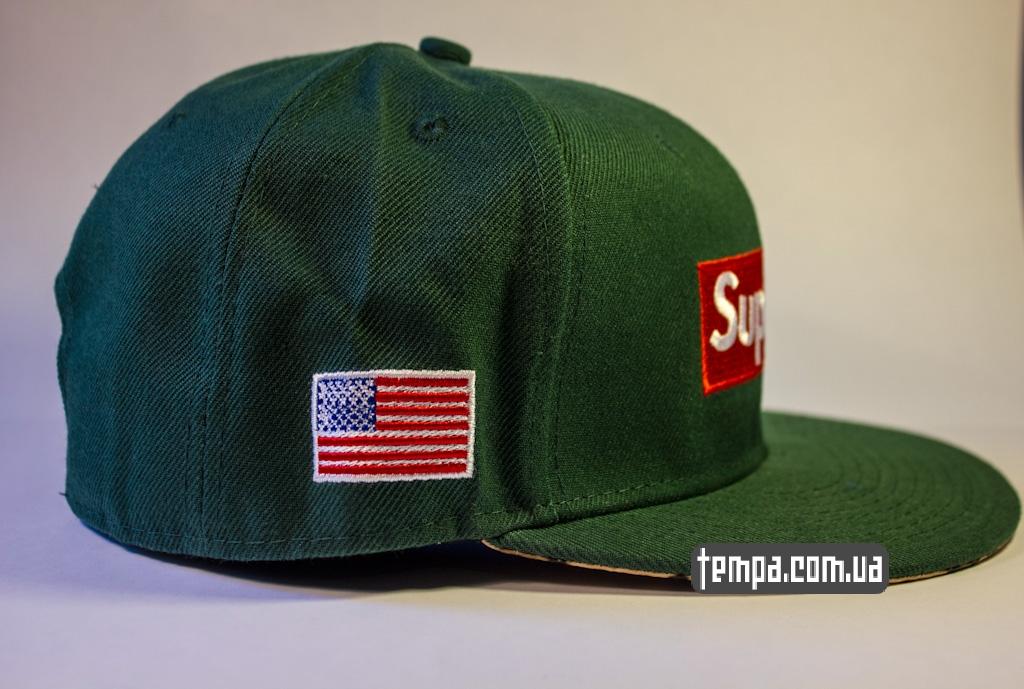 kepka beisbolka snapback supreme zelenaya s amerikansim flagom_1