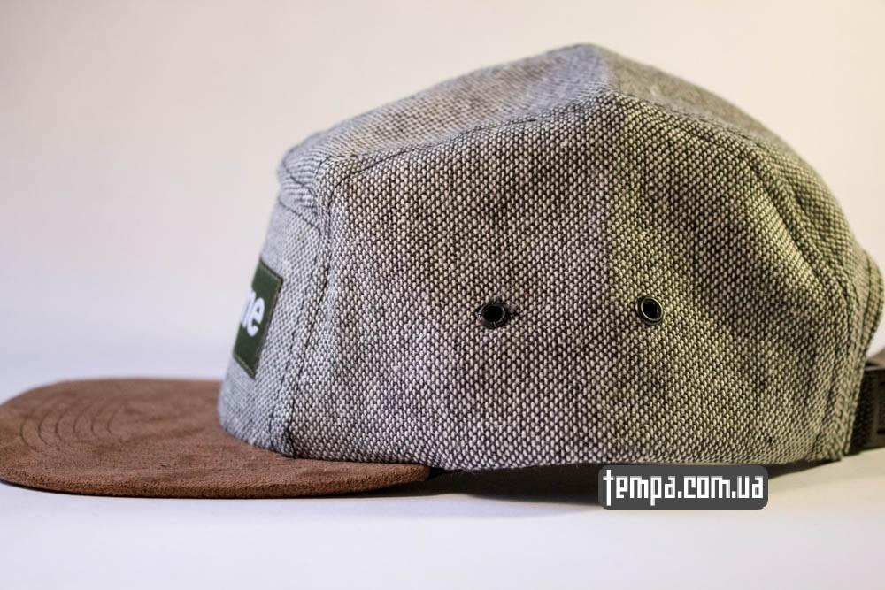 Пятипанельная кепка Supreme Зеленая с серым и коричневым козырьком купить пятипанельку_1