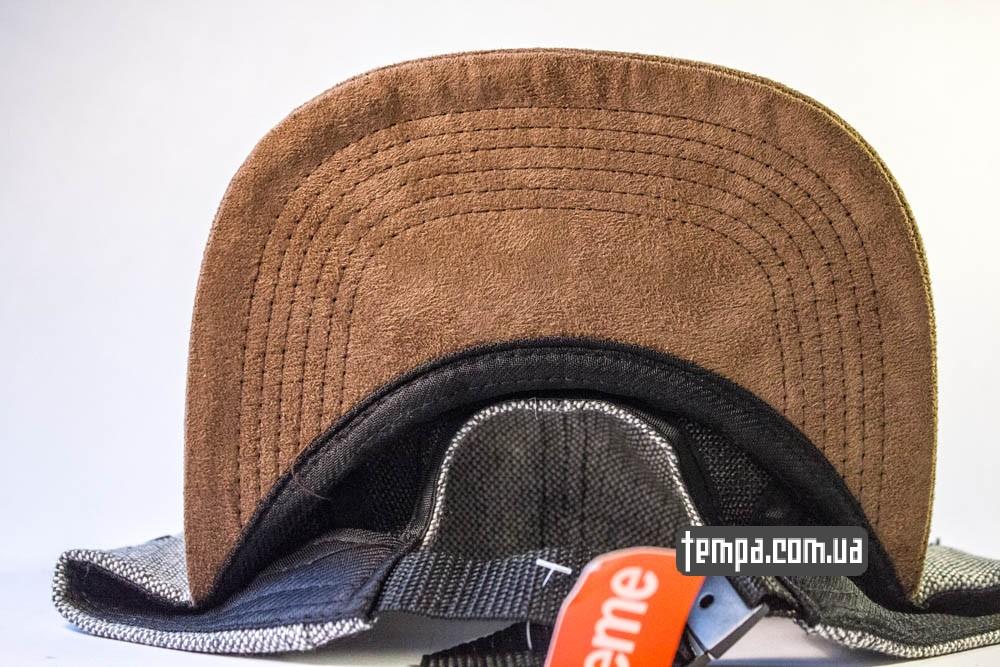 Пятипанельная кепка Supreme Зеленая с серым и коричневым козырьком купить пятипанельку_4