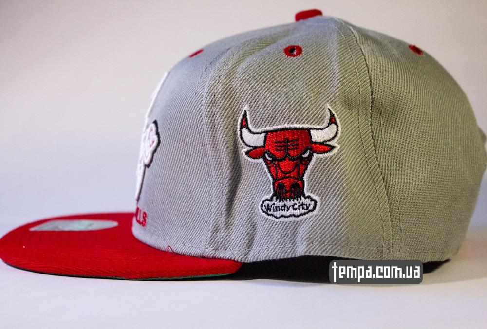 кепка snapback Chicago bulls серая басекетбол бейсбольная кепка с буйволом_1