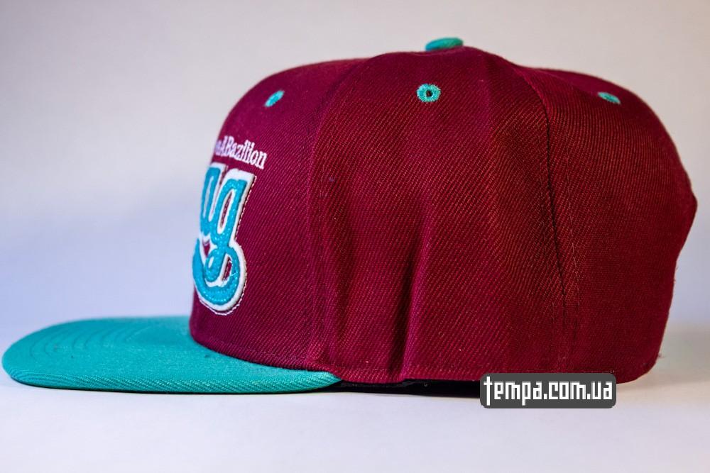 кепка snapback SWAG on A Bazilion бордовая с зеленым козырьком бейсболка_1
