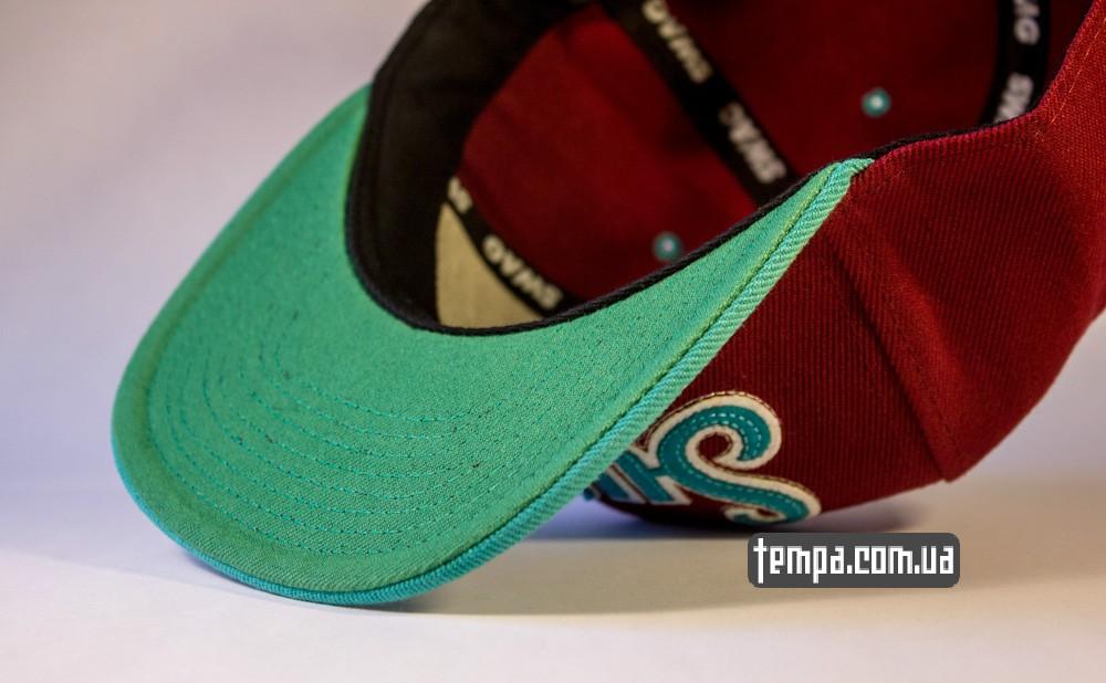 кепка snapback SWAG on A Bazilion бордовая с зеленым козырьком бейсболка_3