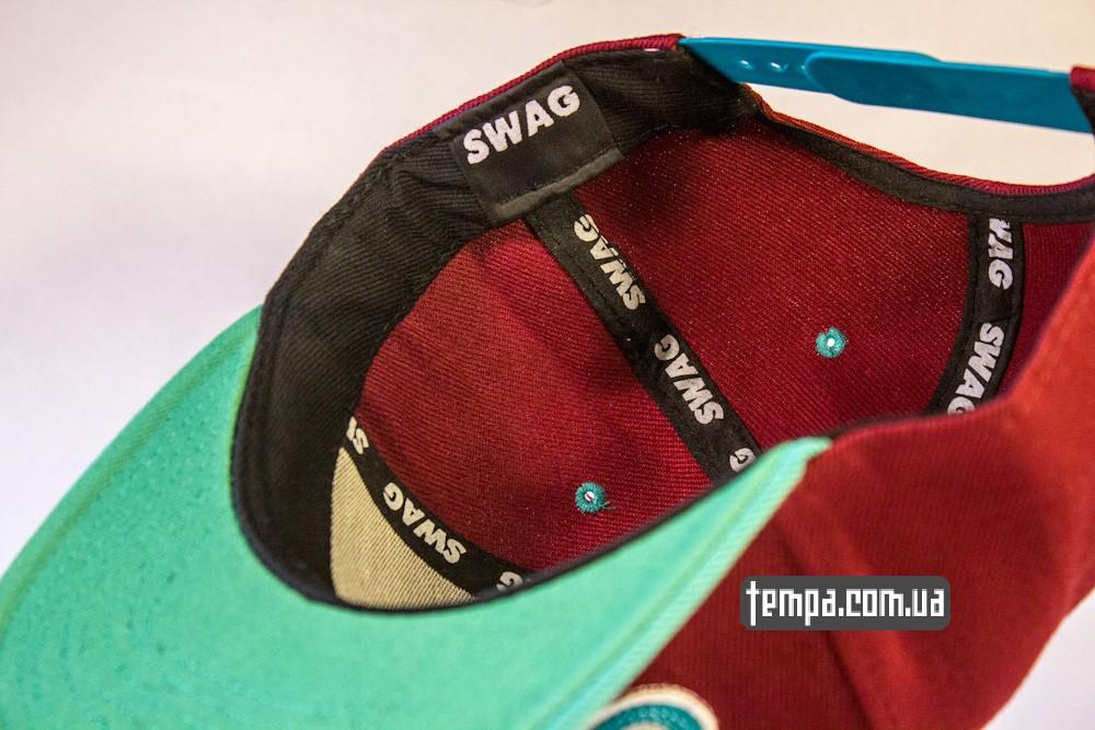 кепка snapback SWAG on A Bazilion бордовая с зеленым козырьком бейсболка_4