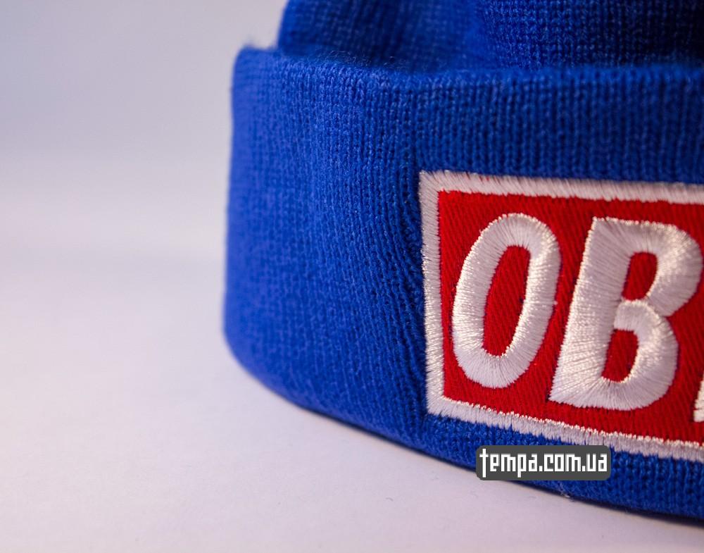 купить шапку голубую OBEY с красным логотипом_1