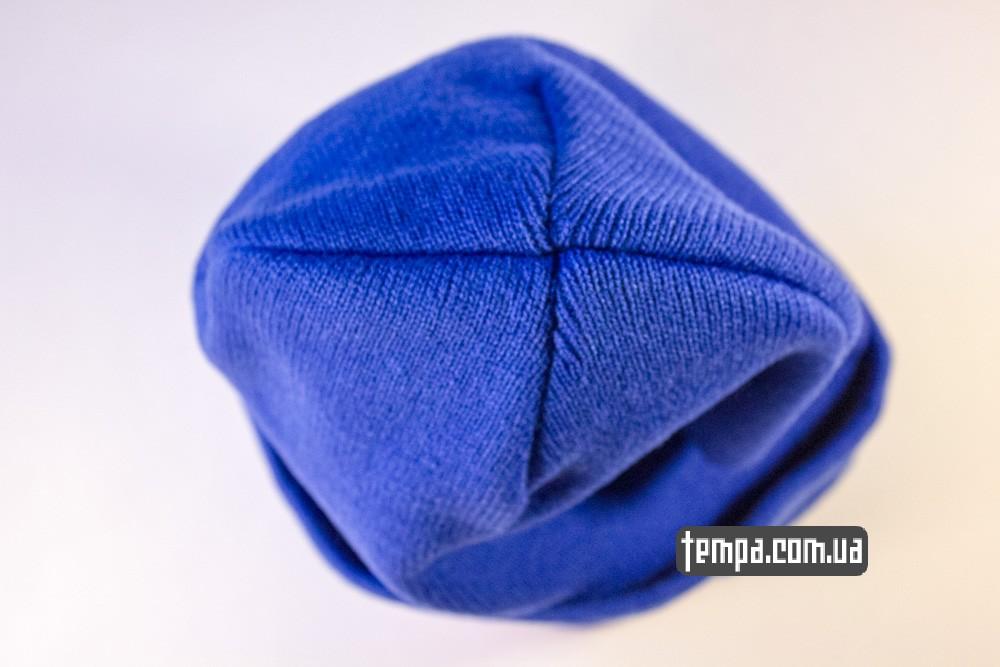 купить шапку голубую OBEY с красным логотипом_2