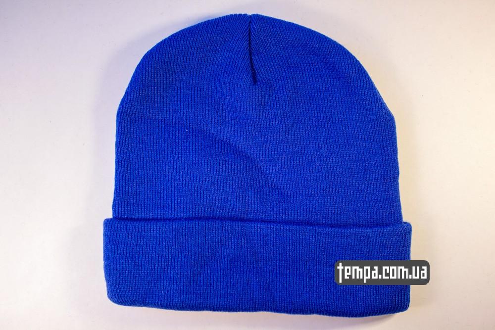 купить шапку голубую OBEY с красным логотипом_3