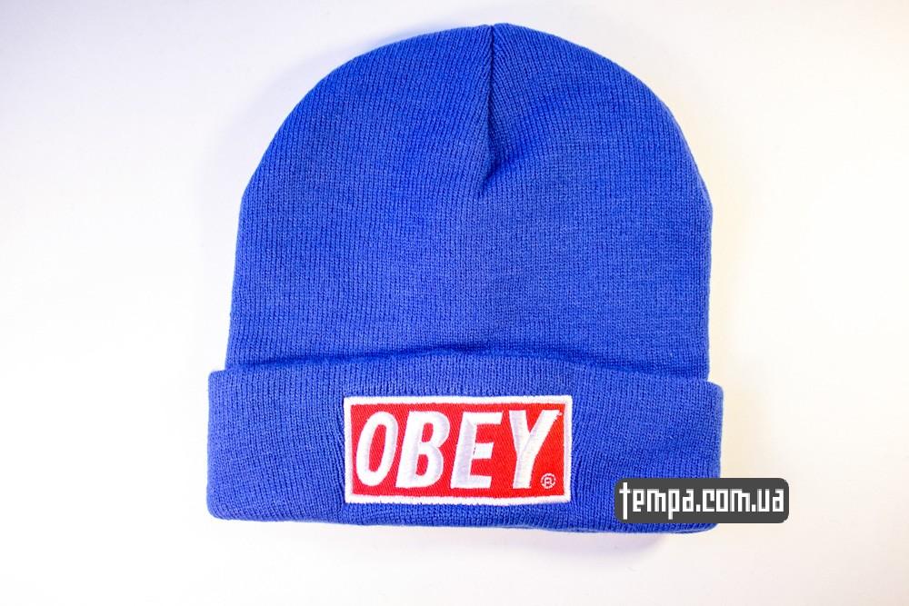купить шапку голубую OBEY с красным логотипом_4