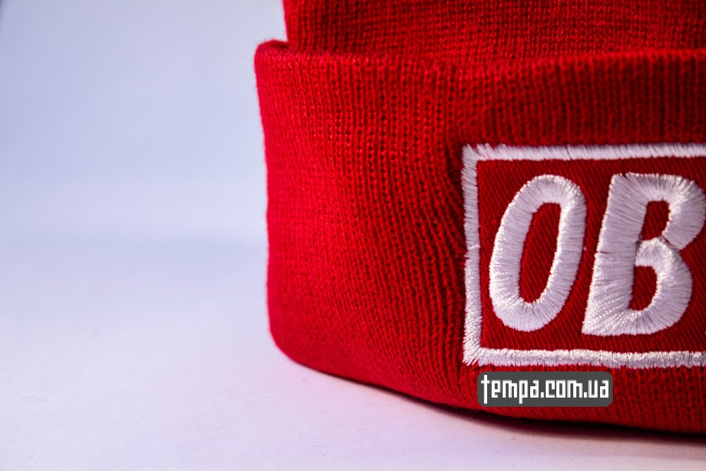 купить шапку красную OBEY с красным логотипом_1