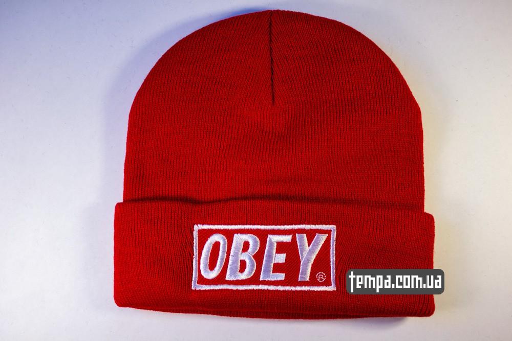 купить шапку красную OBEY с красным логотипом_4