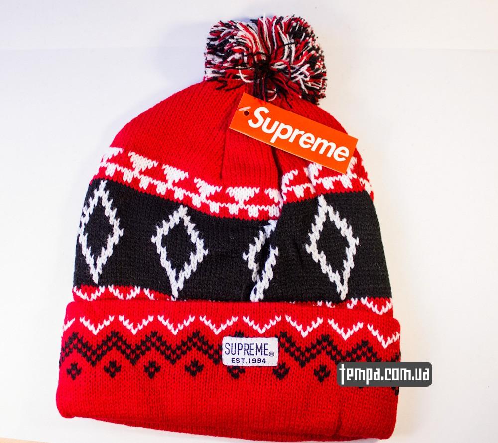 шапка SUPREME красная винтажная купить в украине_5