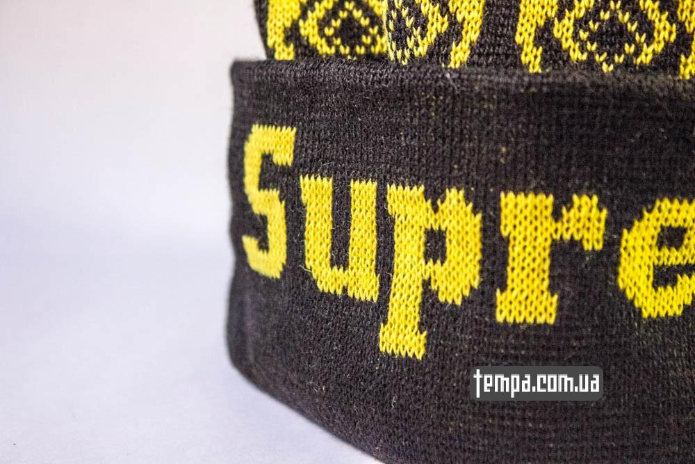 шапка Supreme черная с желтыми совами и с болабоном купить в Украине_1