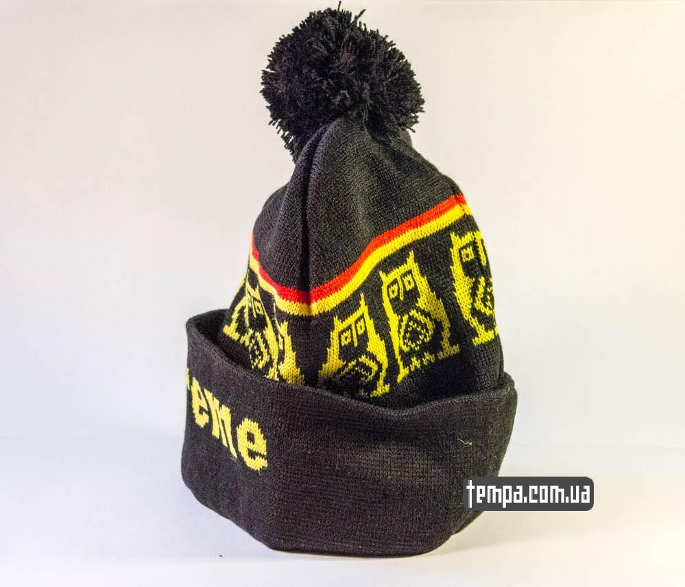 шапка Supreme черная с желтыми совами и с болабоном купить в Украине_2