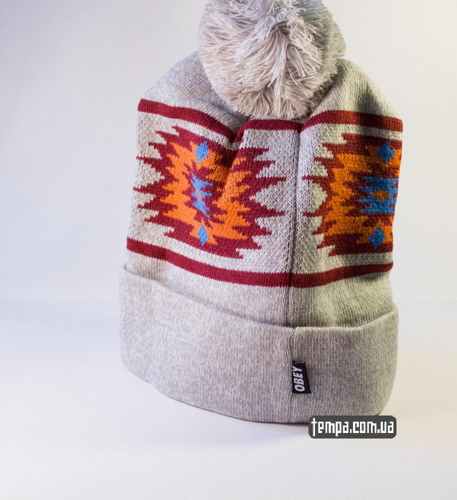 шапка серая OBEY оригинальная с балабоном купить в украине_2
