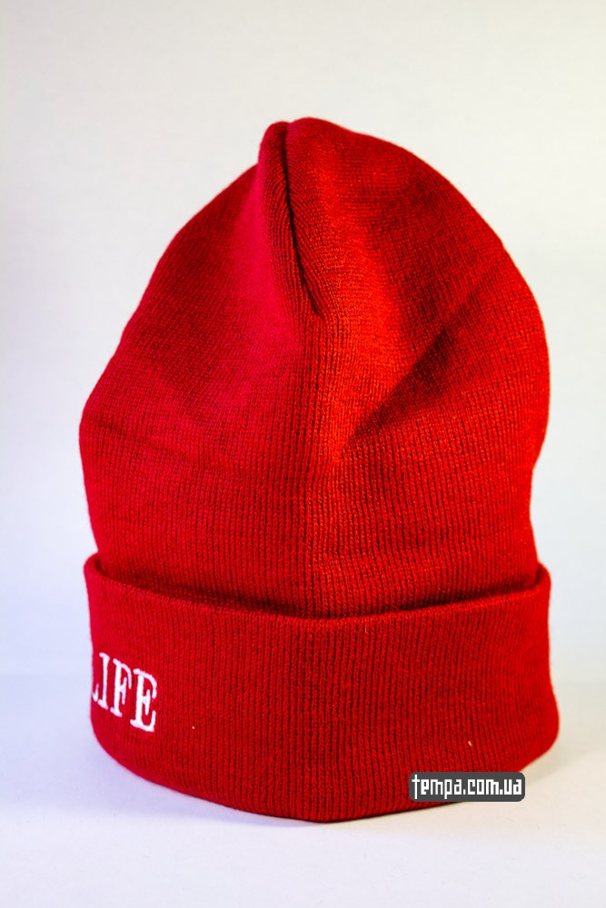 Купить зимнюю шапку ASOS THUG LIFE красную в Украине оригинал_1