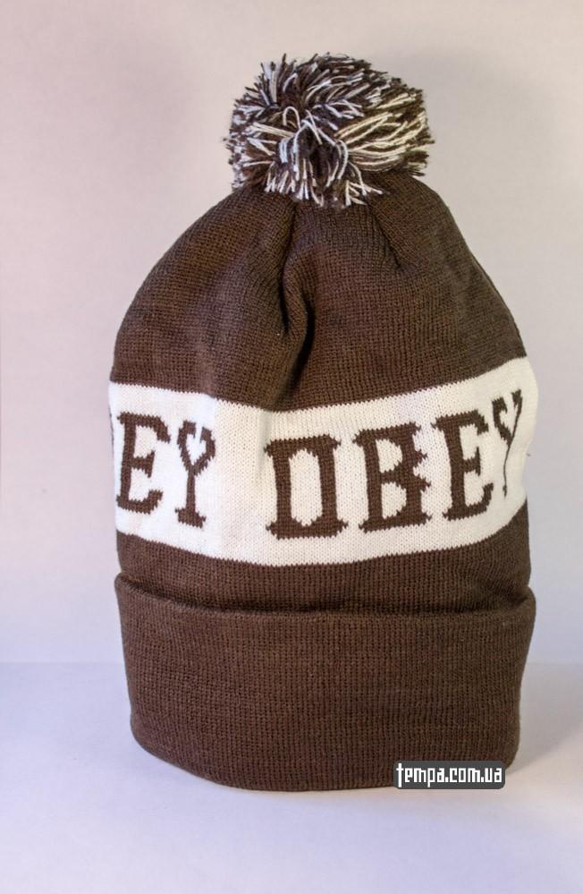 Купить зимнюю шапку OBEY коричневую с балабоном в Украине оригинал_2