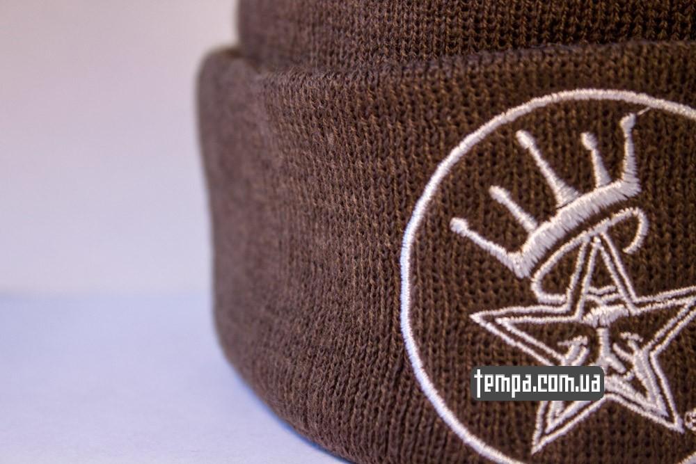 Купить зимнюю шапку OBEY коричневую с балабоном в Украине оригинал_4