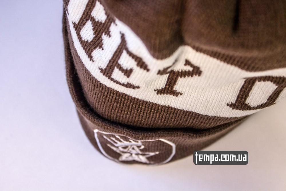Купить зимнюю шапку OBEY коричневую с балабоном в Украине оригинал_5