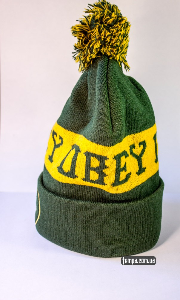 Зимняя шапка OBEY зеленая с балабоном купить оригинальную шапку обей в Украине_1
