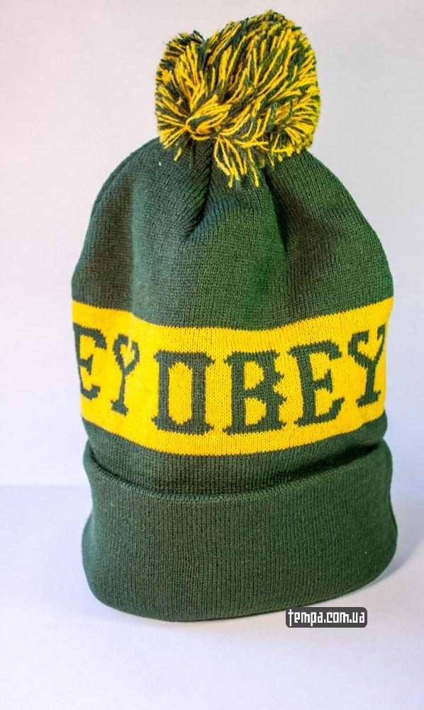 Зимняя шапка OBEY зеленая с балабоном купить оригинальную шапку обей в Украине_2