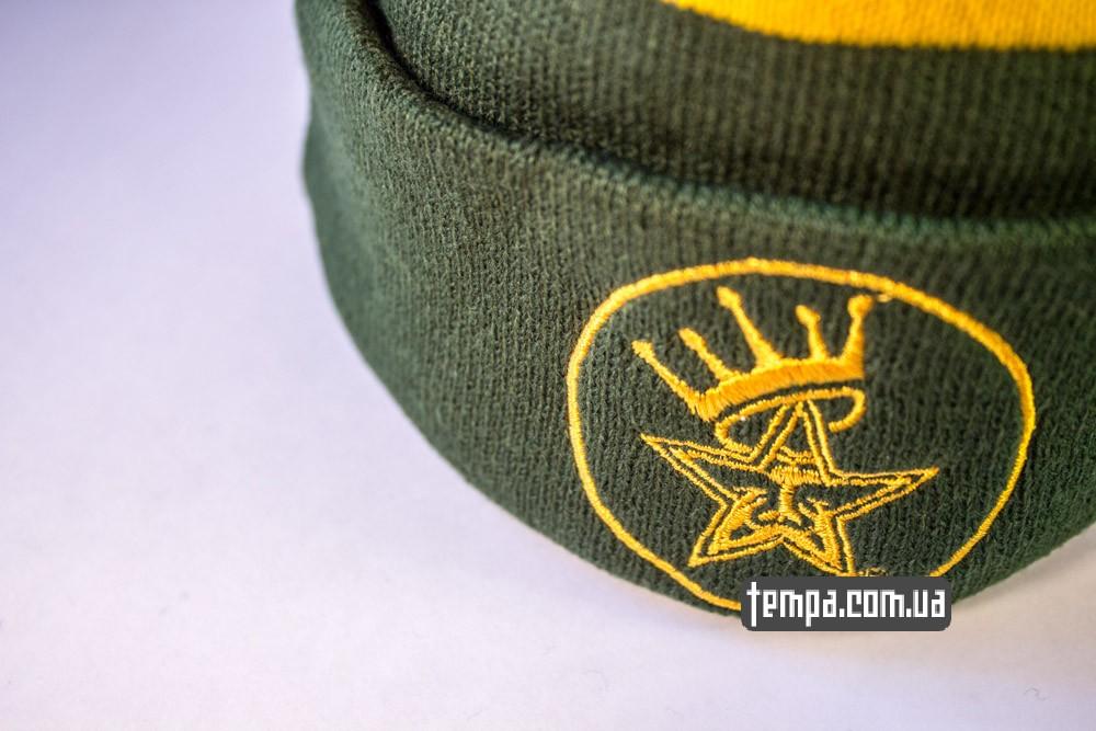 Зимняя шапка OBEY зеленая с балабоном купить оригинальную шапку обей в Украине_4