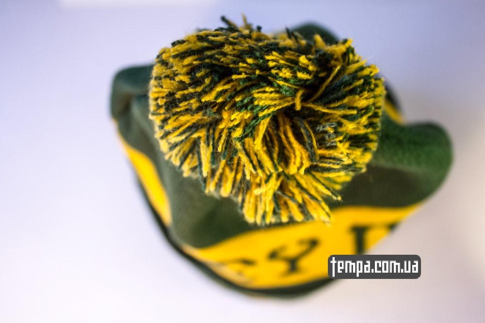 Зимняя шапка OBEY зеленая с балабоном купить оригинальную шапку обей в Украине_5