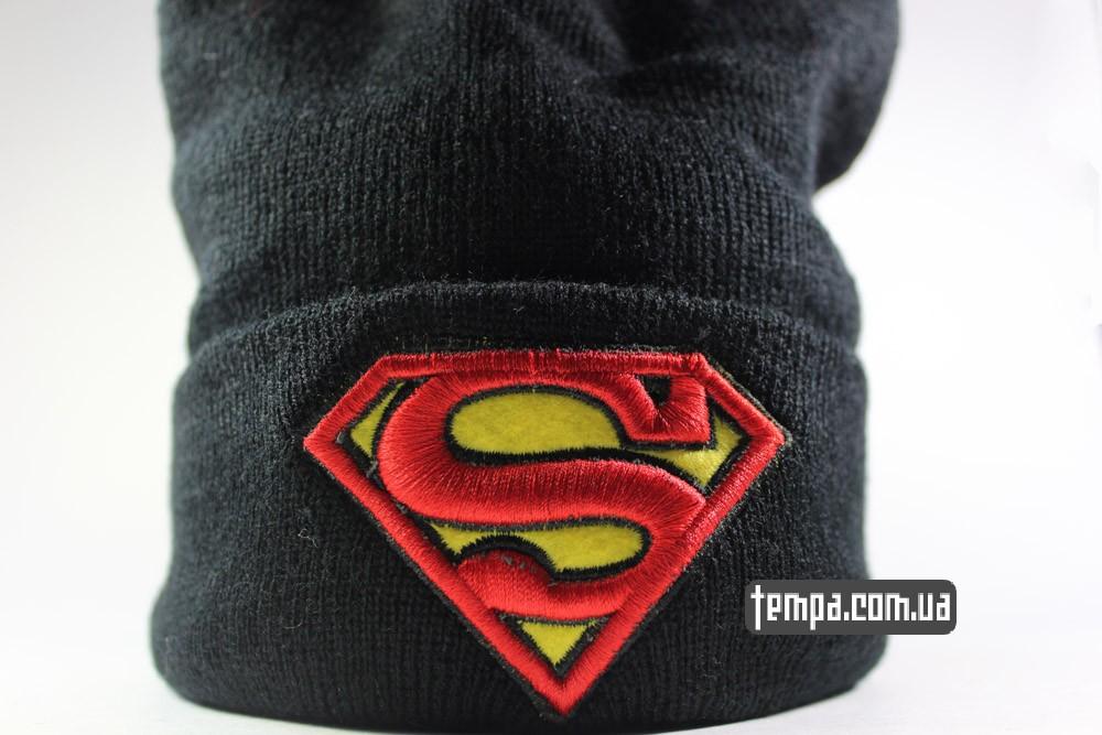 Superman New Era шапка зимняя теплая детская черная купить в украине