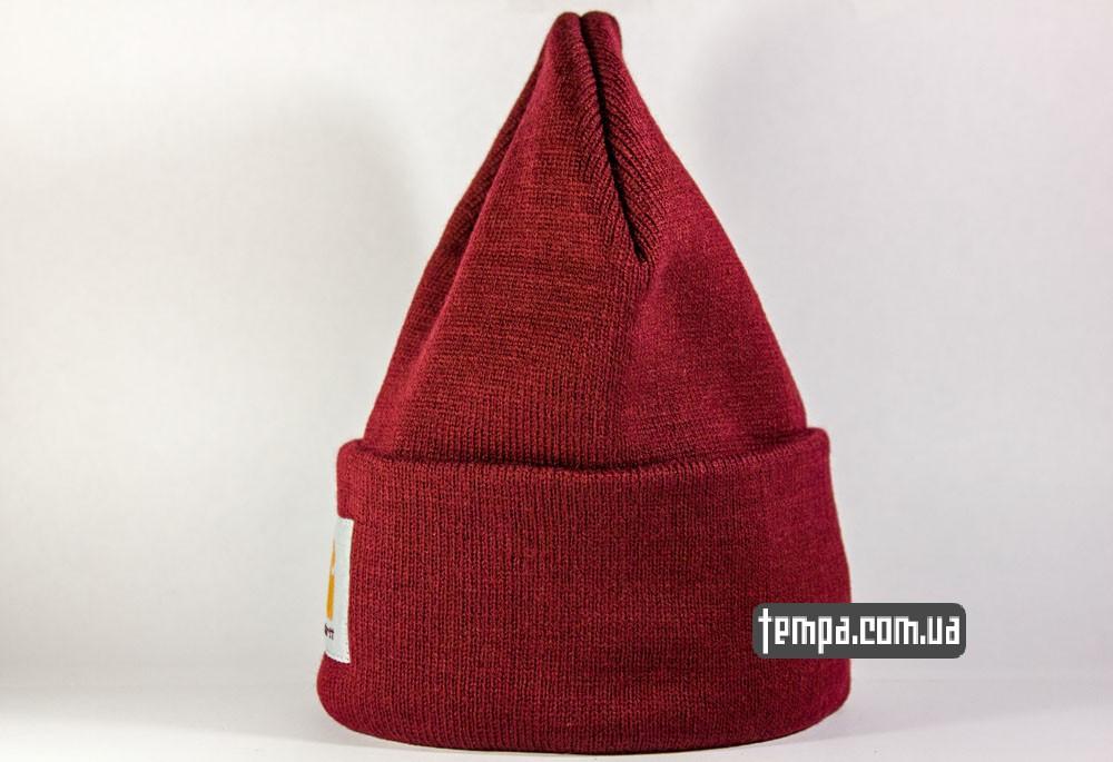 шапка carhartt кархарт бордовая красная купить в украине оригинал заказать
