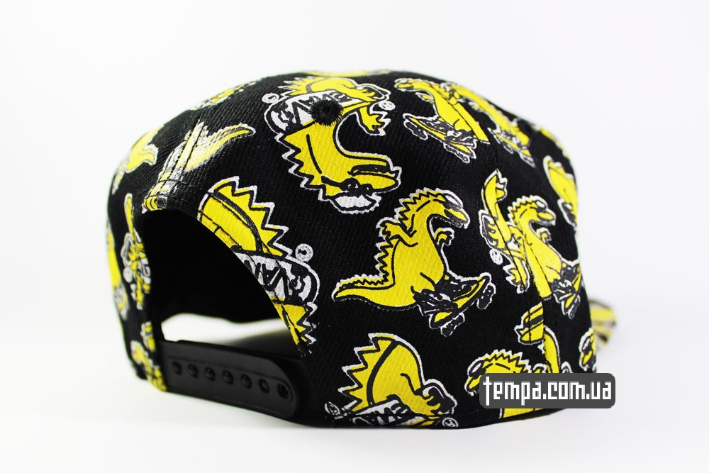 купить кепку VANS snapback с динозаврами черную с желтым