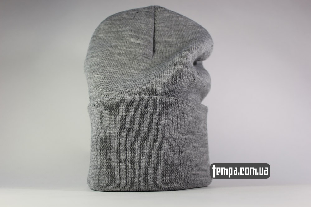 зимняя теплая мужская женская серая шапка VANS OFF THE WALL