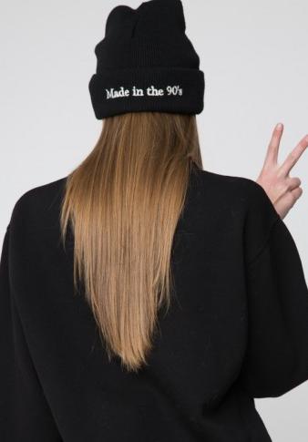 женская шапка купить в украине beanie ASOS Made in 90's Сделано в 90х черная
