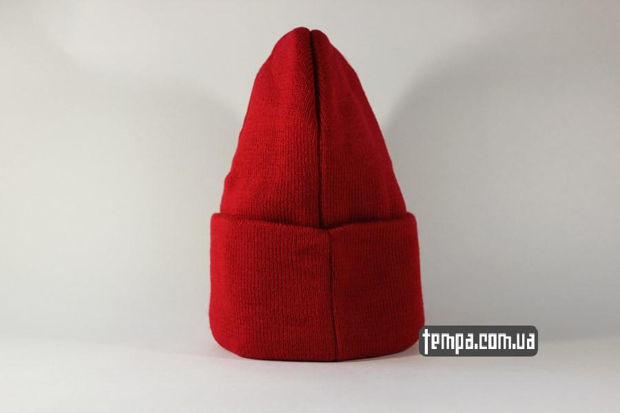 США кархарт оригинал шапка beanie Charhartt red красная кожаный логотип