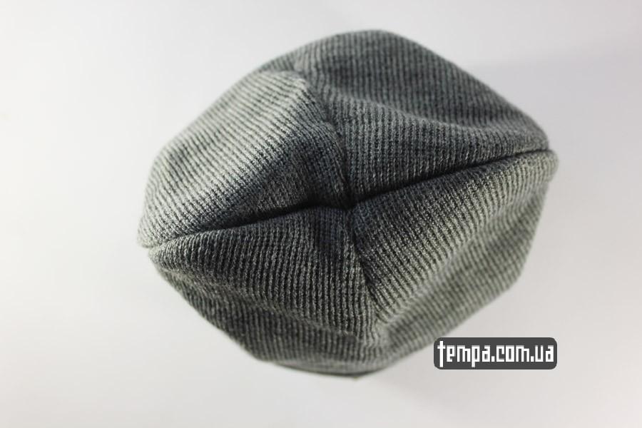 кархарт одежда США шапка beanie Charhartt серая с кожаным логотипом