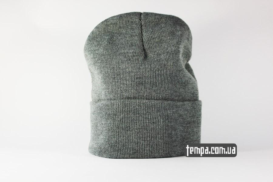 кархарт одежда купить украина шапка beanie Charhartt серая с кожаным логотипом
