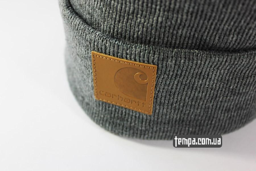 кархарт теплая зимняя мужская женская шапка beanie Charhartt серая с кожаным логотипом