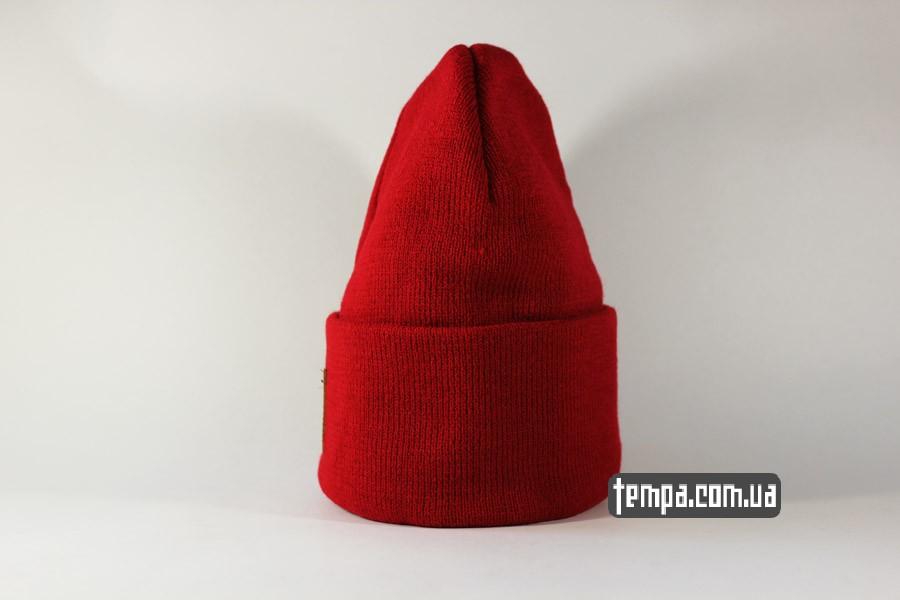 кархарт украина куить заказать шапка beanie Charhartt red красная кожаный логотип
