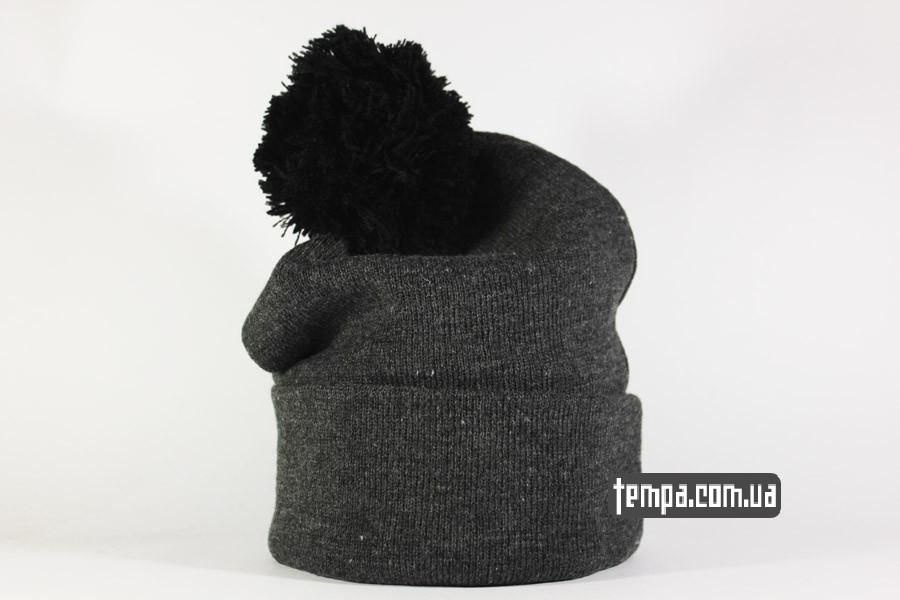 мужская женская зимняя теплая шапка beanie vans off the wall ванс серая с балабоном