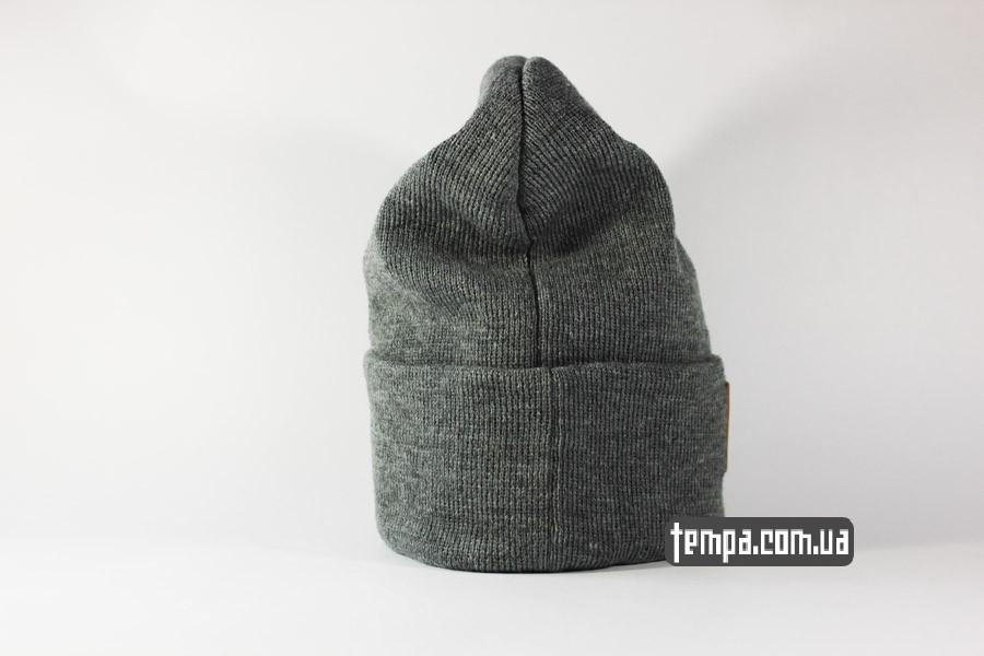оригинал кархарт шапка beanie Charhartt серая с кожаным логотипом