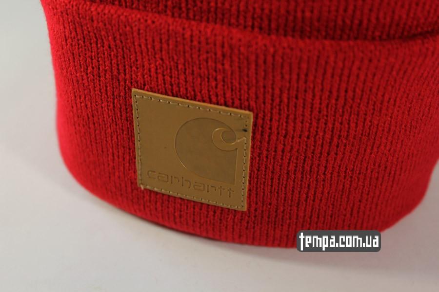 реперка хипхоп шапка beanie Charhartt red красная кожаный логотип