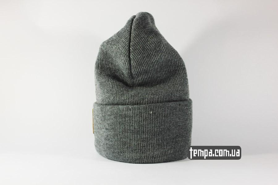 шапка beanie Charhartt серая с кожаным логотипом украина заказать оригинал