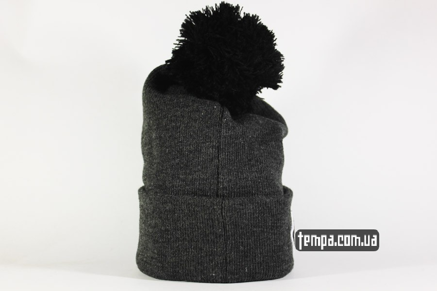 теплая зимняя шапка beanie vans off the wall ванс серая с балабоном украина купить