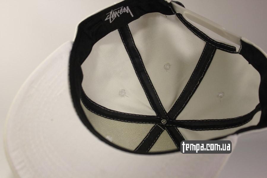 короткий ровный козырек белая кепка бейсболка snapback Stussy украина купить