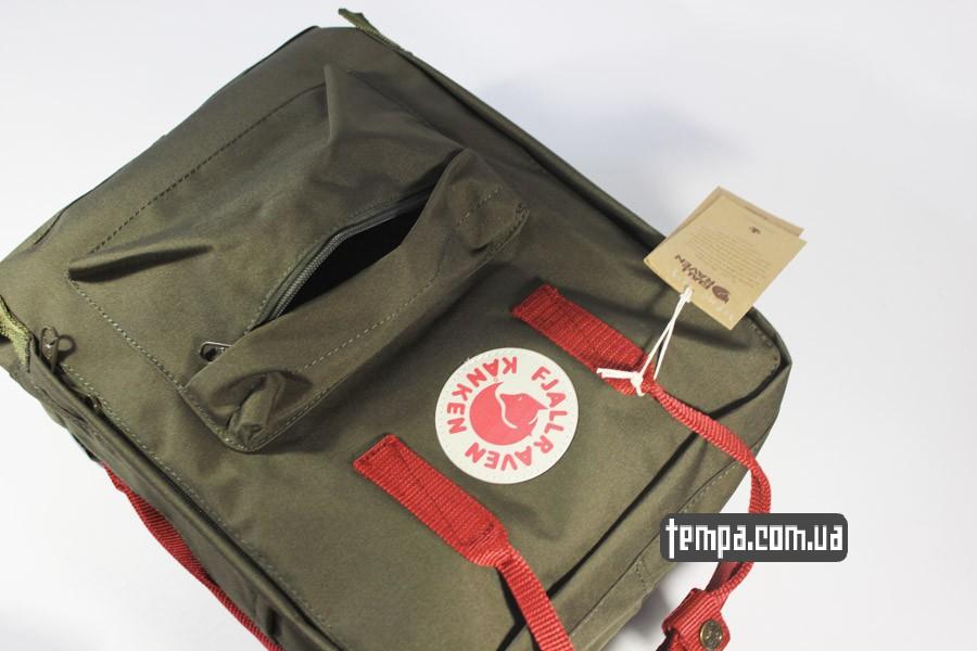 Украина рюкзак kanken FJALL RAVEN хаки с красными ручками