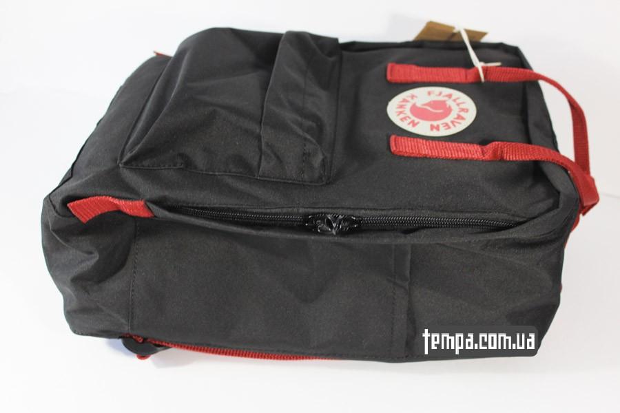 kanken FJALL RAVEN рюкзак черный с красными ремешками украина купить