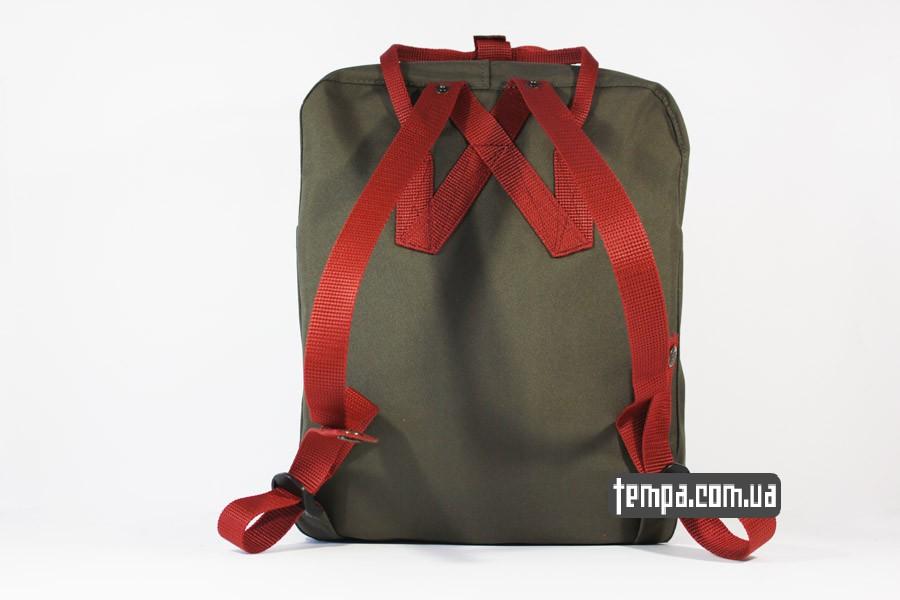 kanken украина одежда рюкзак kanken FJALL RAVEN хаки с красными ручками