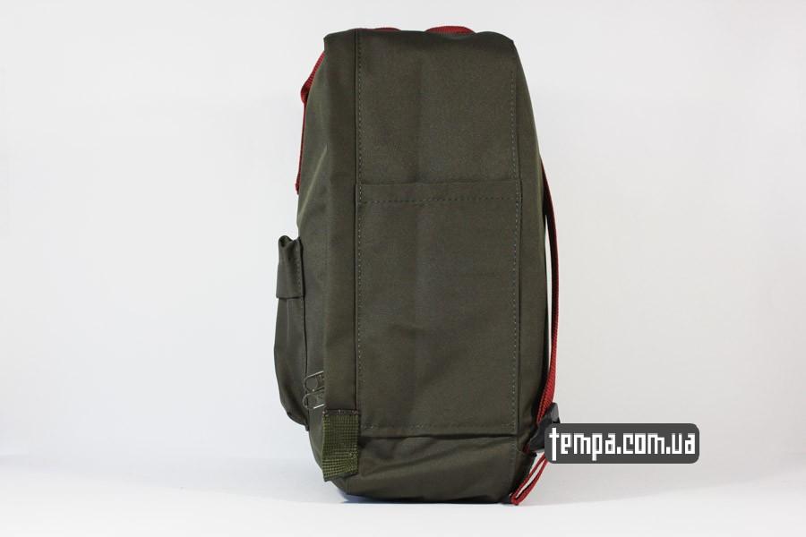 красный оригинал рюкзак kanken FJALL RAVEN хаки с красными ручками