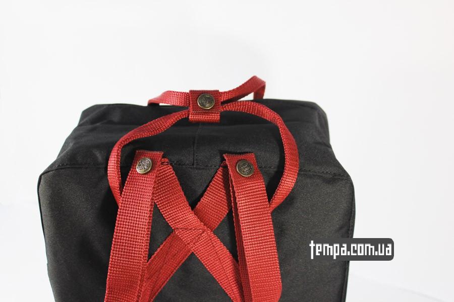 купить оригинал kanken FJALL RAVEN рюкзак черный с красными ремешками