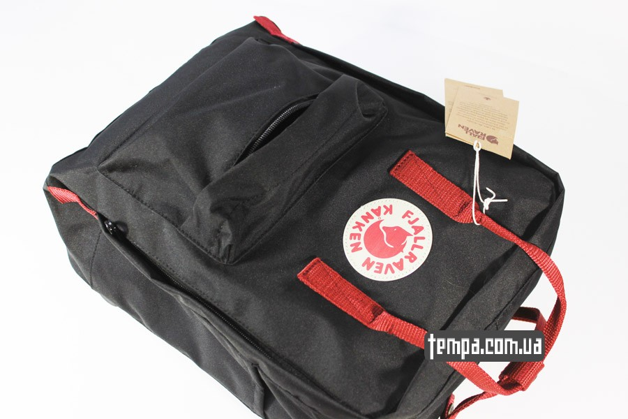 купить оригинал украина kanken FJALL RAVEN рюкзак черный с красными ремешками