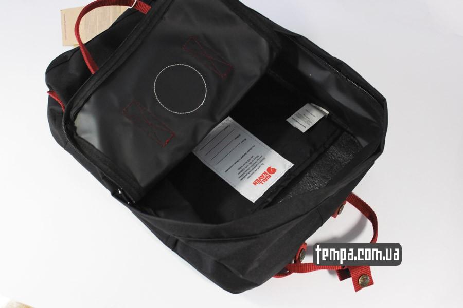 купить заказать kanken FJALL RAVEN рюкзак черный с красными ремешками