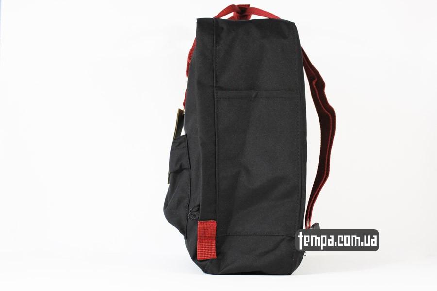магазин kanken FJALL RAVEN рюкзак черный с красными ремешками